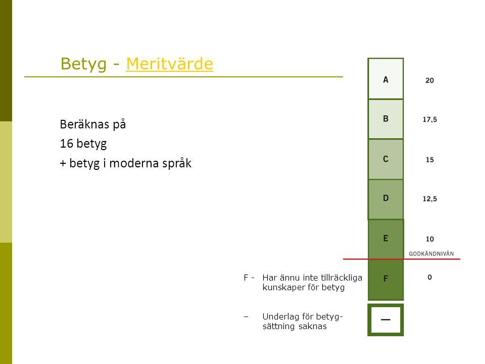 Betyg - Meritvärde Beräknas på 16 betyg + betyg i moderna språk