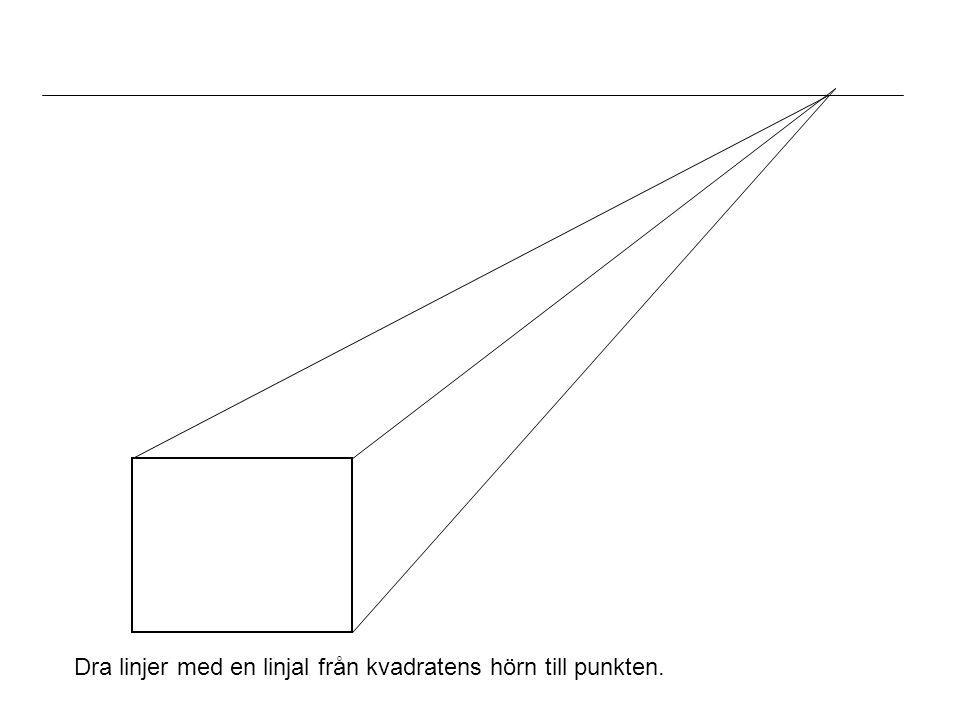 Dra linjer med en linjal från kvadratens hörn till punkten.