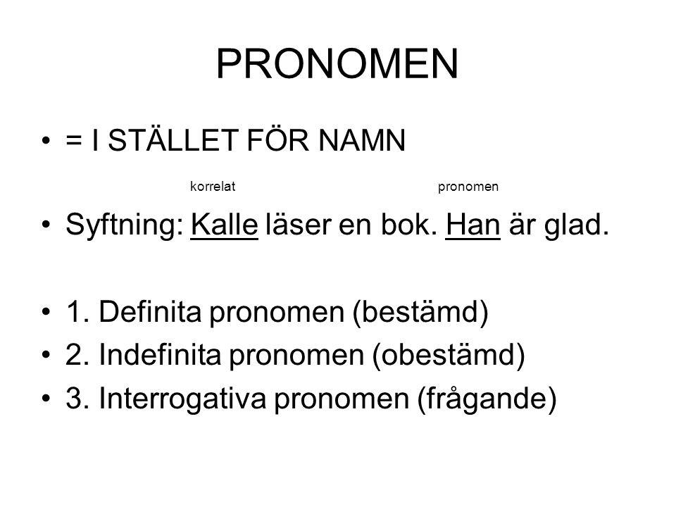 PRONOMEN = I STÄLLET FÖR NAMN korrelat pronomen