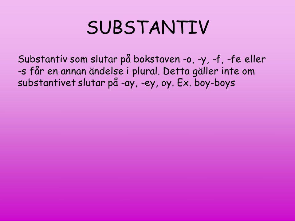 SUBSTANTIV Singular (en) Plural (flera)