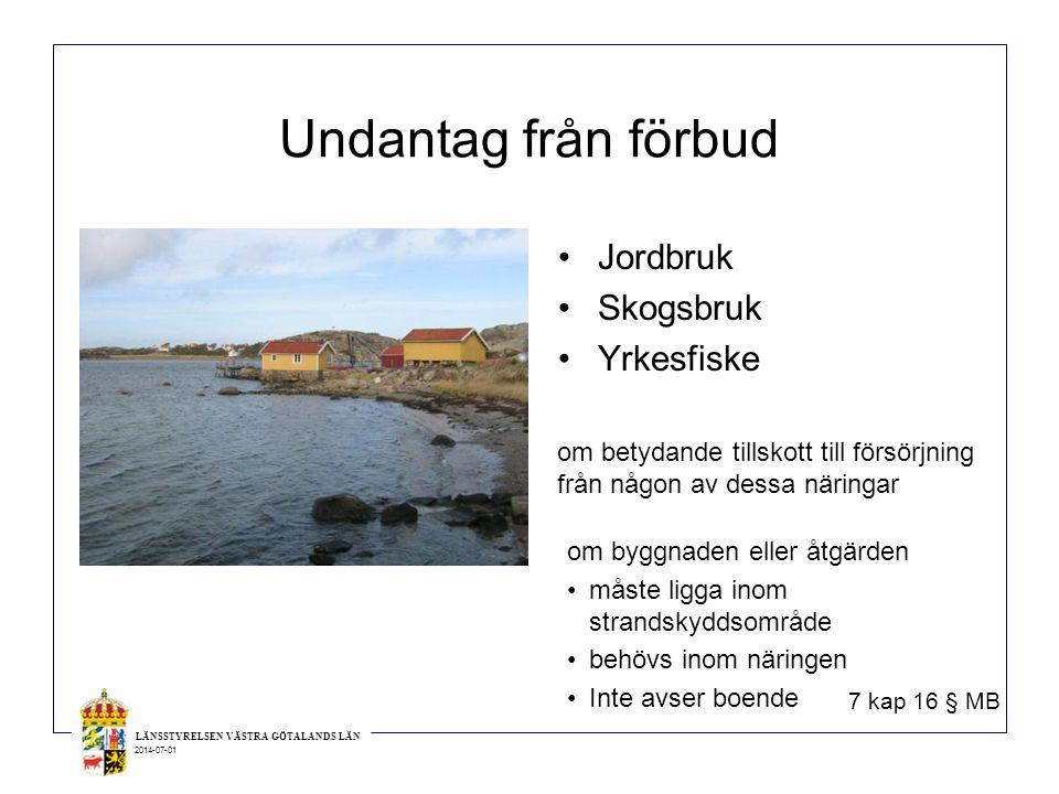 Undantag från förbud Jordbruk Skogsbruk Yrkesfiske