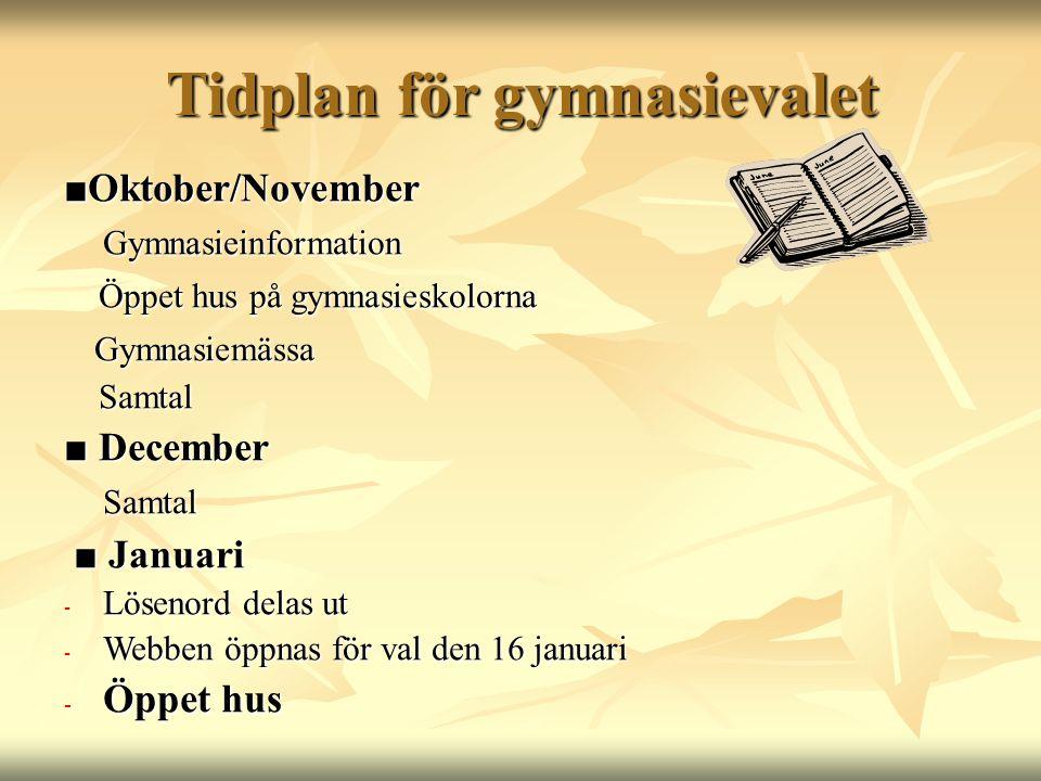 Tidplan för gymnasievalet