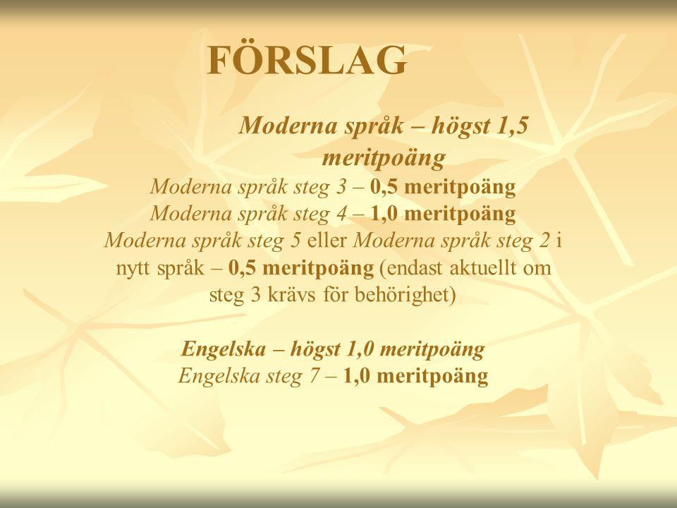 FÖRSLAG Moderna språk – högst 1,5 meritpoäng