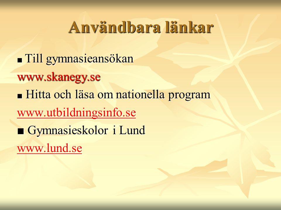 Användbara länkar www.skanegy.se www.utbildningsinfo.se