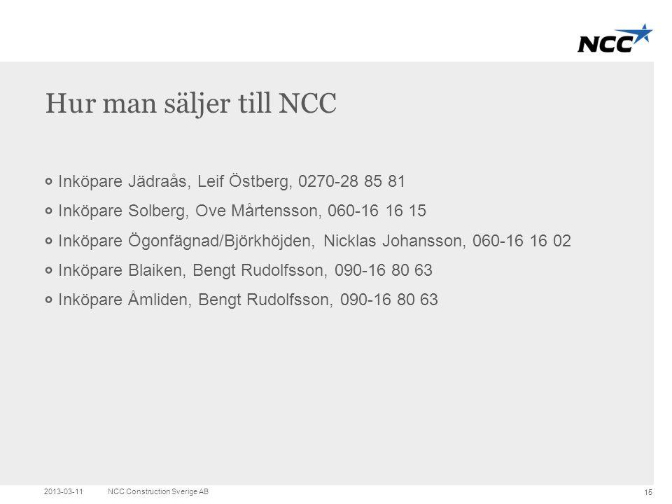 Hur man säljer till NCC Inköpare Jädraås, Leif Östberg, 0270-28 85 81