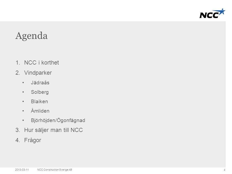 Agenda NCC i korthet Vindparker Hur säljer man till NCC Frågor Jädraås