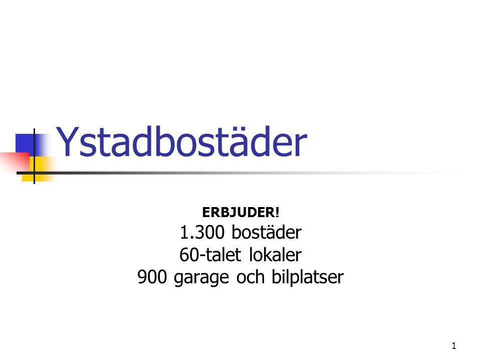 ERBJUDER! 1.300 bostäder 60-talet lokaler 900 garage och bilplatser