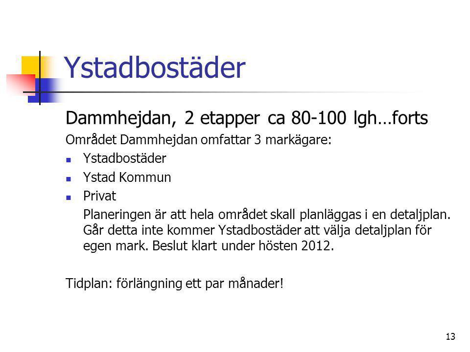 Ystadbostäder Dammhejdan, 2 etapper ca 80-100 lgh…forts