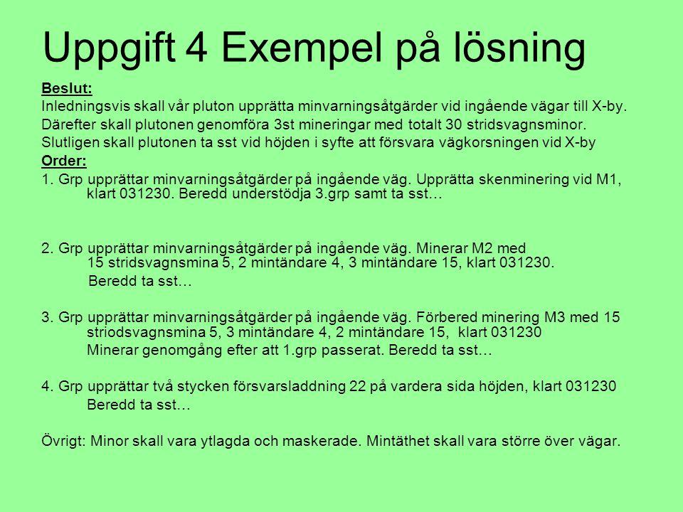 Uppgift 4 Exempel på lösning