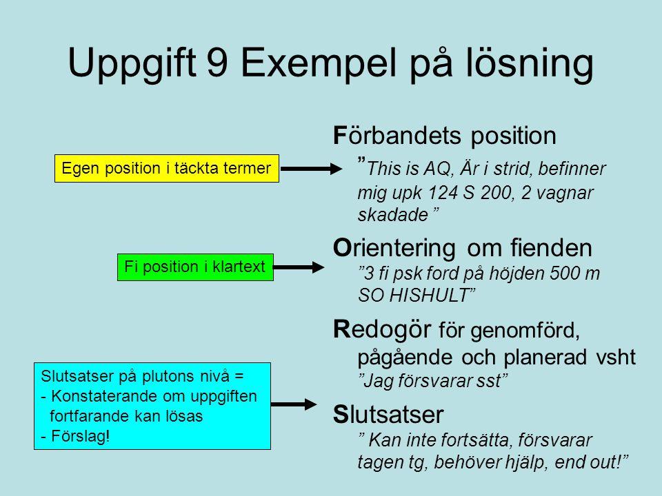Uppgift 9 Exempel på lösning