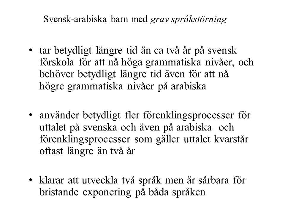 Svensk-arabiska barn med grav språkstörning