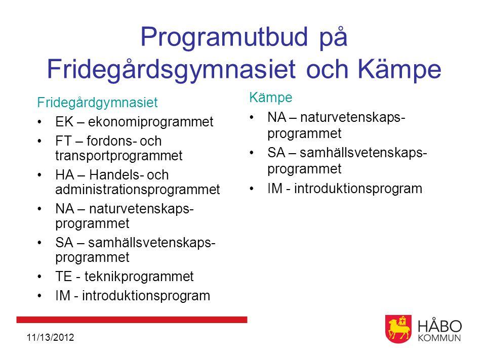 Programutbud på Fridegårdsgymnasiet och Kämpe