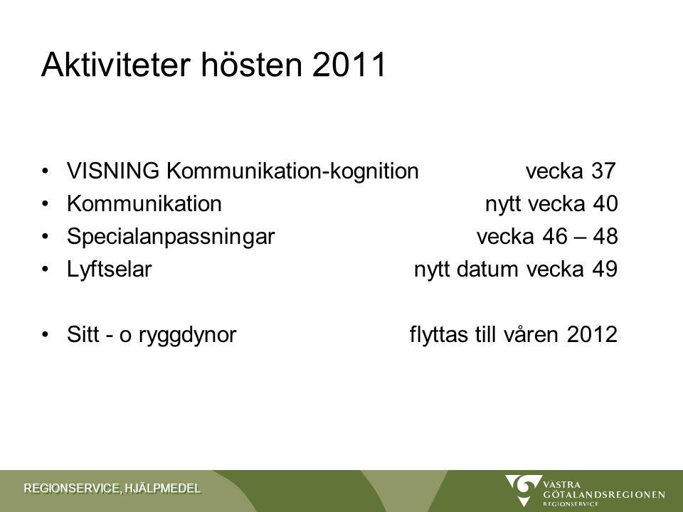 Aktiviteter hösten 2011 VISNING Kommunikation-kognition vecka 37
