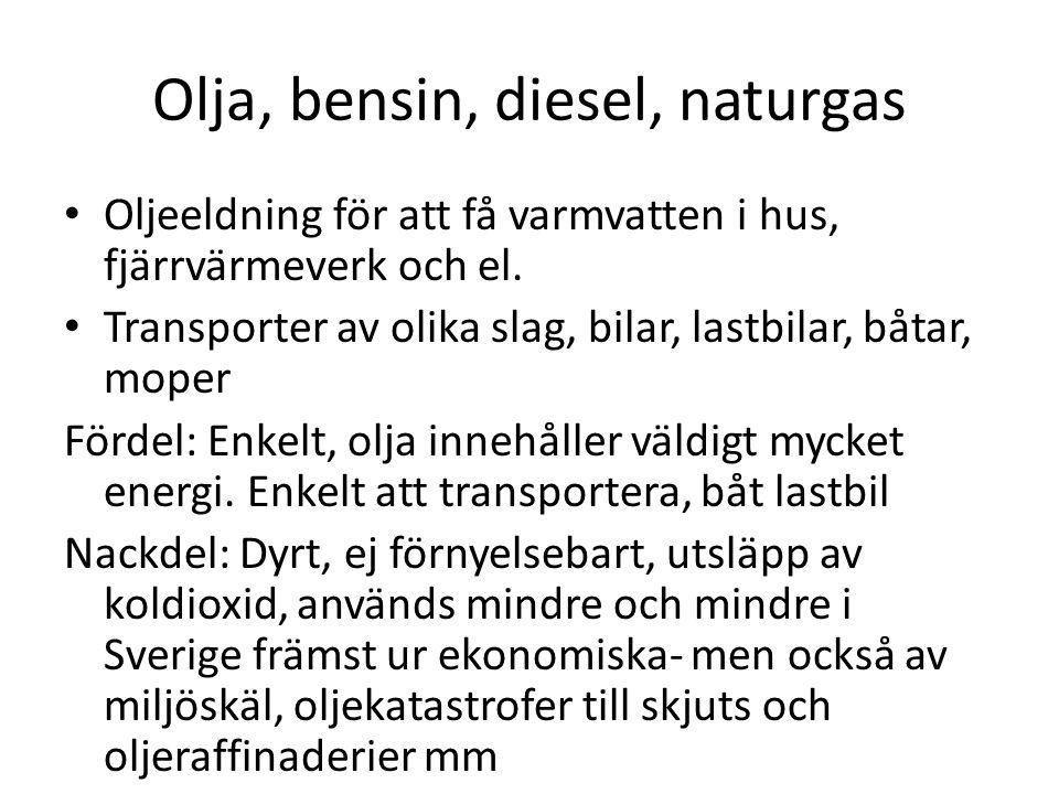 Olja , bensin, diesel, naturgas