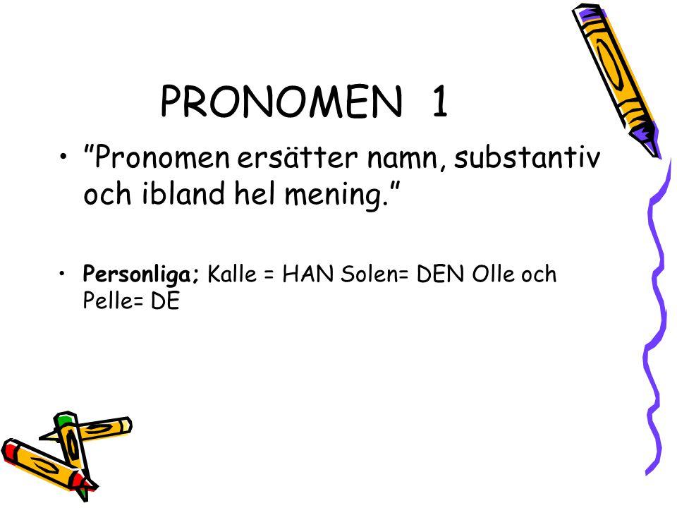 PRONOMEN 1 Pronomen ersätter namn, substantiv och ibland hel mening.