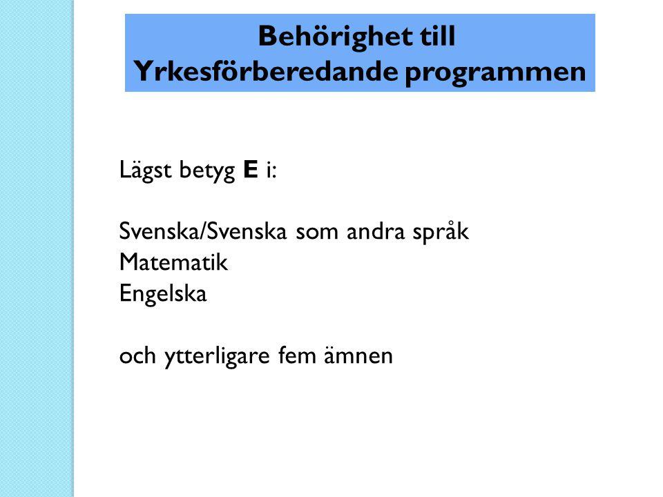 Yrkesförberedande programmen