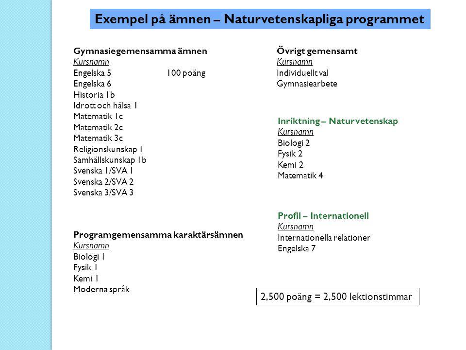 Exempel på ämnen – Naturvetenskapliga programmet