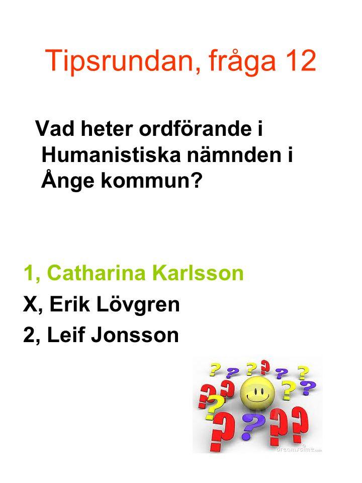 Tipsrundan, fråga 12 Vad heter ordförande i Humanistiska nämnden i Ånge kommun 1, Catharina Karlsson.