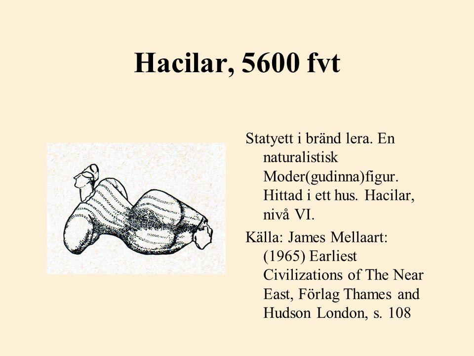 Hacilar, 5600 fvt Statyett i bränd lera. En naturalistisk Moder(gudinna)figur. Hittad i ett hus. Hacilar, nivå VI.