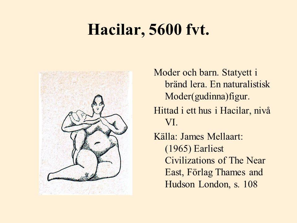 Hacilar, 5600 fvt. Moder och barn. Statyett i bränd lera. En naturalistisk Moder(gudinna)figur. Hittad i ett hus i Hacilar, nivå VI.
