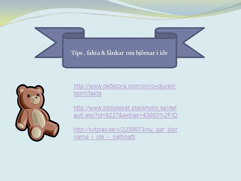 Tips , fakta & länkar om björnar i ide