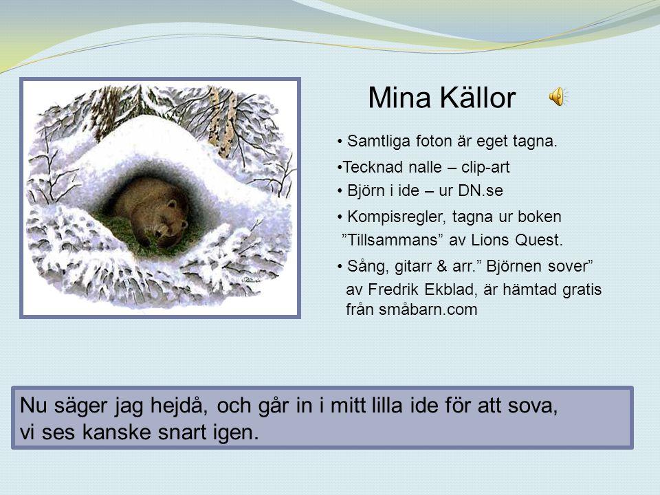 Mina Källor Samtliga foton är eget tagna. Tecknad nalle – clip-art. Björn i ide – ur DN.se. Kompisregler, tagna ur boken.