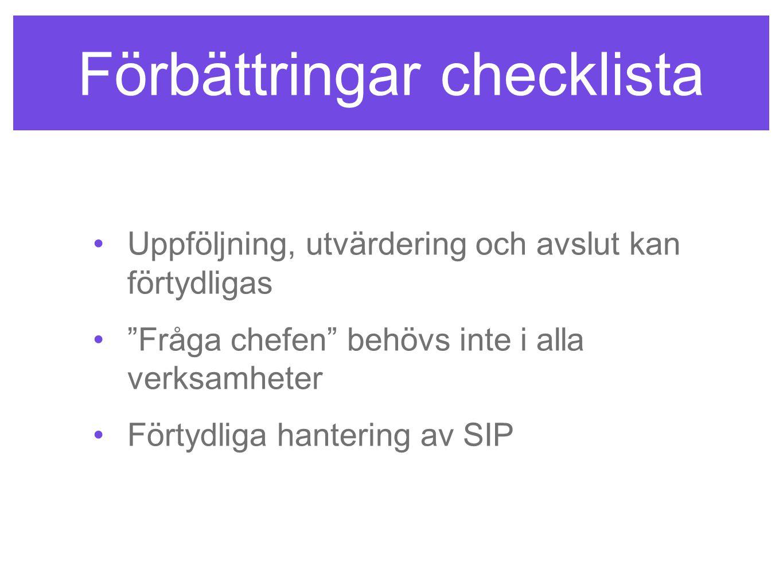 Förbättringar checklista