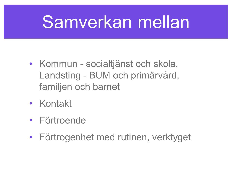 Samverkan mellan Kommun - socialtjänst och skola, Landsting - BUM och primärvård, familjen och barnet.