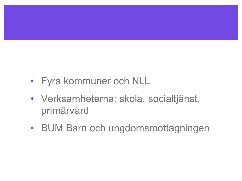 Fyra kommuner och NLL Verksamheterna: skola, socialtjänst, primärvård.