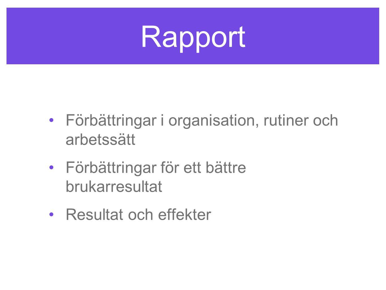 Rapport Förbättringar i organisation, rutiner och arbetssätt
