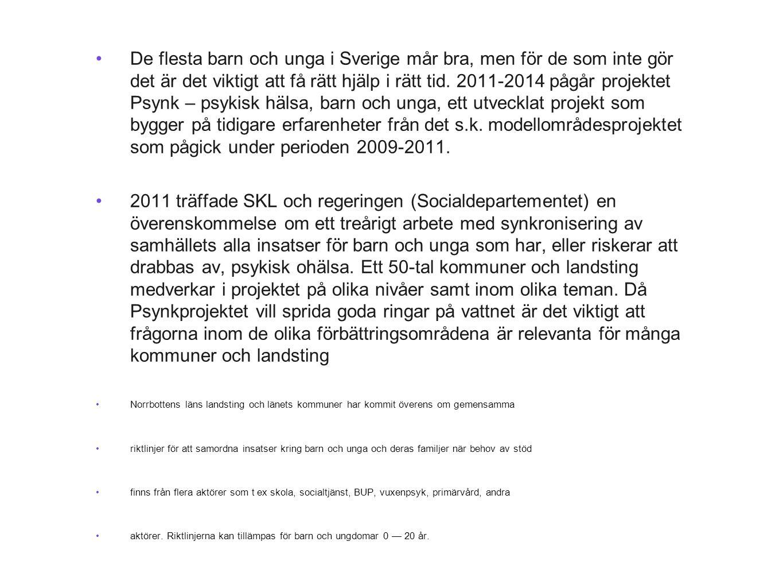 De flesta barn och unga i Sverige mår bra, men för de som inte gör det är det viktigt att få rätt hjälp i rätt tid. 2011-2014 pågår projektet Psynk – psykisk hälsa, barn och unga, ett utvecklat projekt som bygger på tidigare erfarenheter från det s.k. modellområdesprojektet som pågick under perioden 2009-2011.