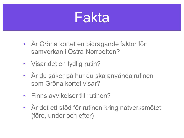 Fakta Är Gröna kortet en bidragande faktor för samverkan i Östra Norrbotten Visar det en tydlig rutin
