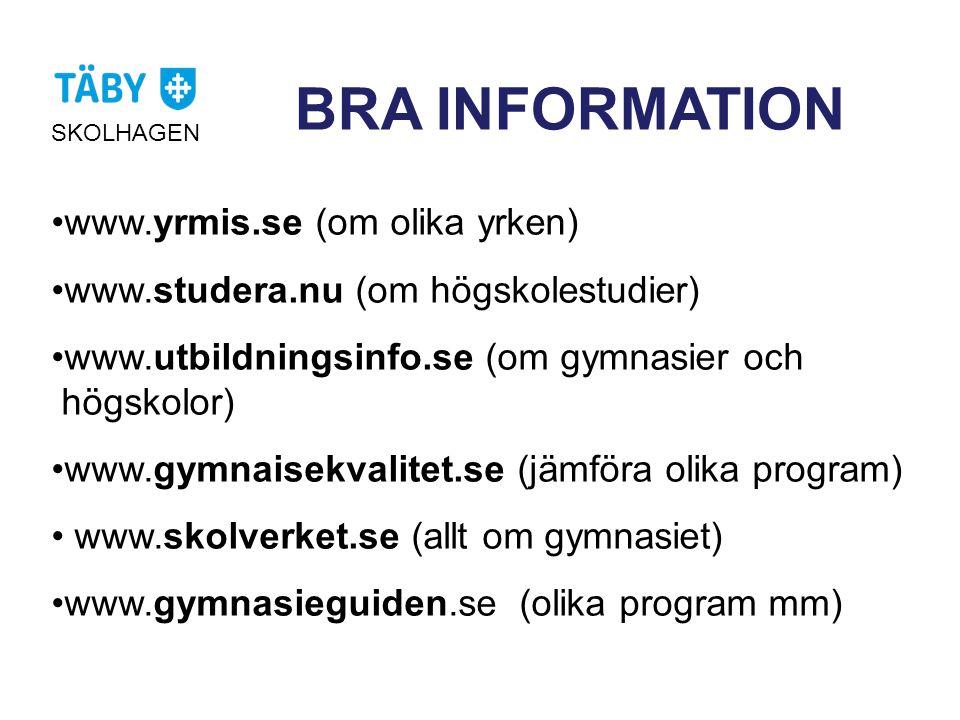 BRA INFORMATION www.yrmis.se (om olika yrken)