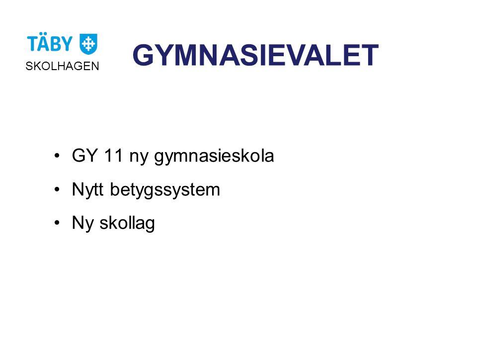GYMNASIEVALET GY 11 ny gymnasieskola Nytt betygssystem Ny skollag