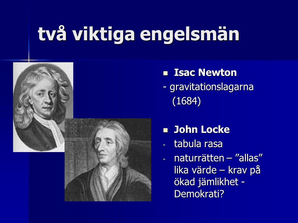 två viktiga engelsmän Isac Newton - gravitationslagarna (1684)