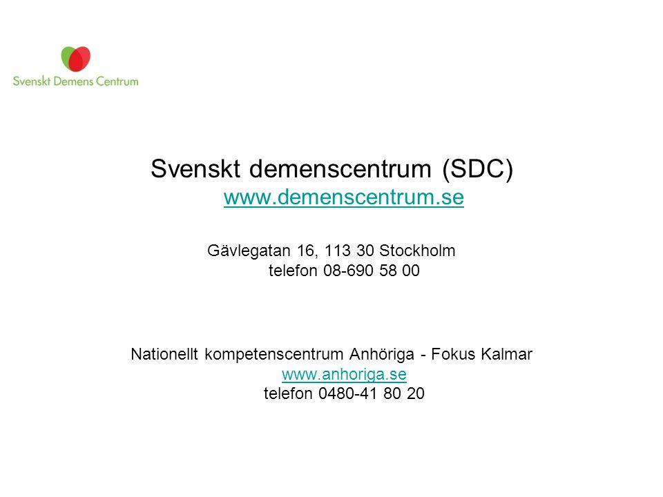 Svenskt demenscentrum (SDC) www.demenscentrum.se
