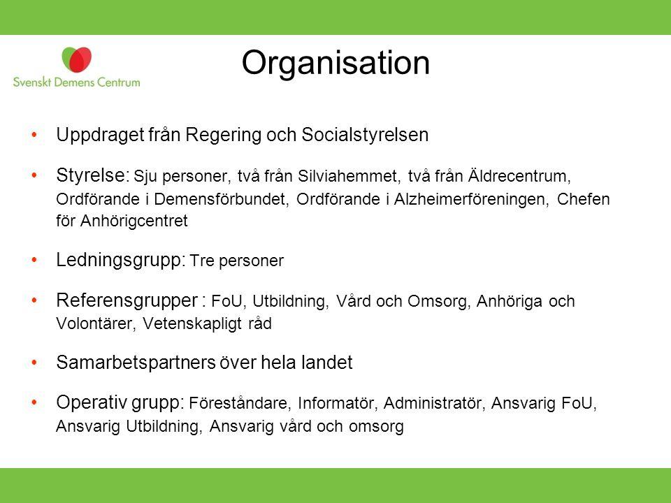 Organisation Uppdraget från Regering och Socialstyrelsen