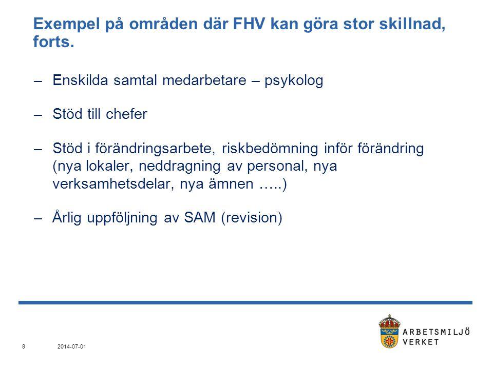 Exempel på områden där FHV kan göra stor skillnad, forts.