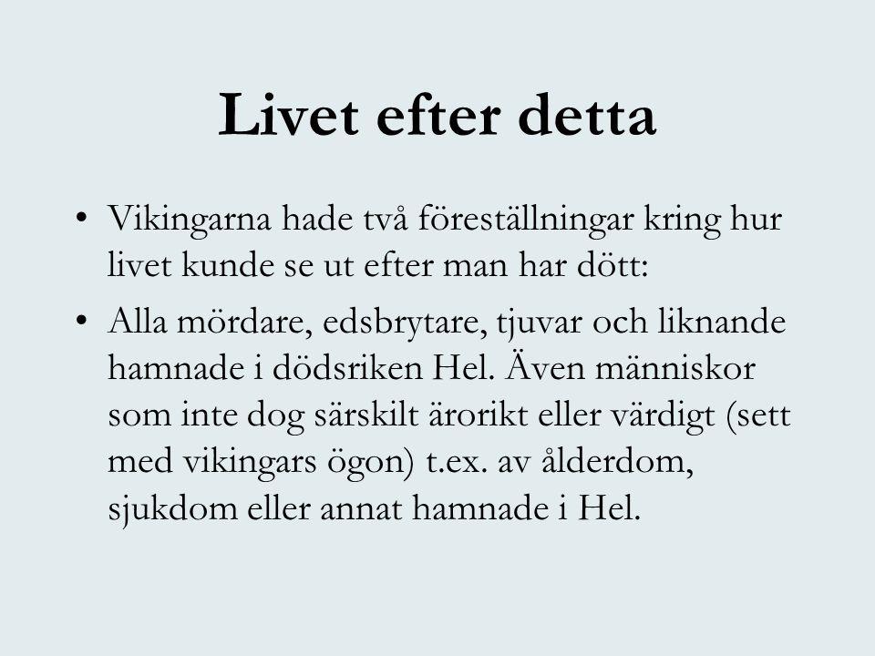 Livet efter detta Vikingarna hade två föreställningar kring hur livet kunde se ut efter man har dött: