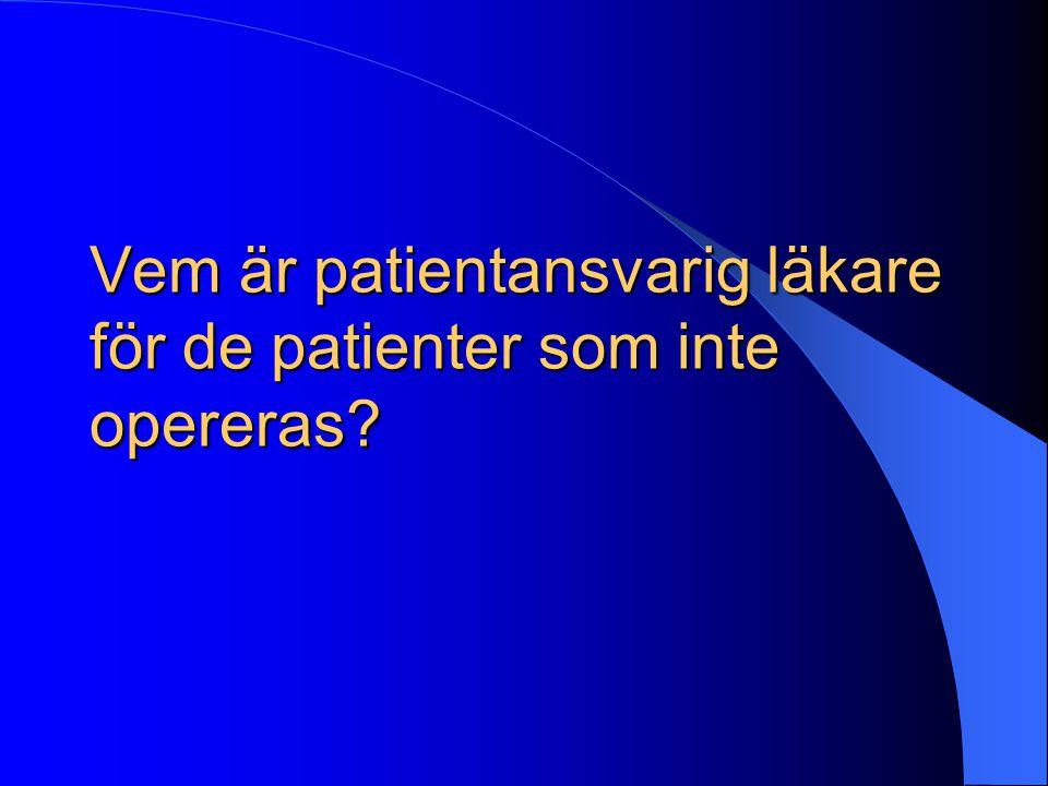 Vem är patientansvarig läkare för de patienter som inte opereras
