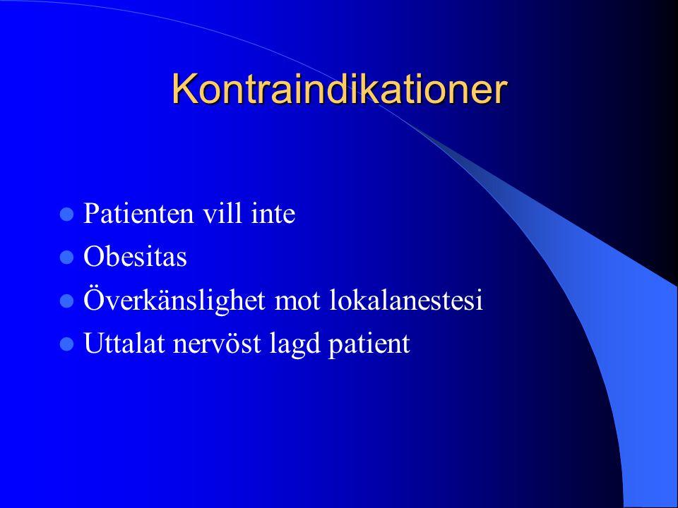 Kontraindikationer Patienten vill inte Obesitas