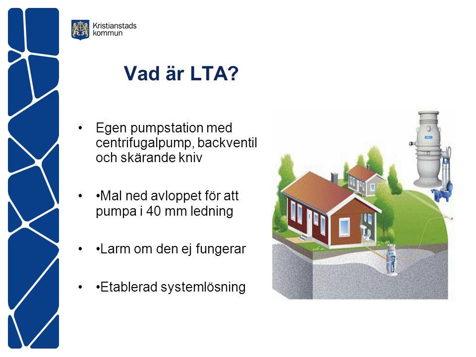 Vad är LTA Egen pumpstation med centrifugalpump, backventil och skärande kniv. •Mal ned avloppet för att pumpa i 40 mm ledning.