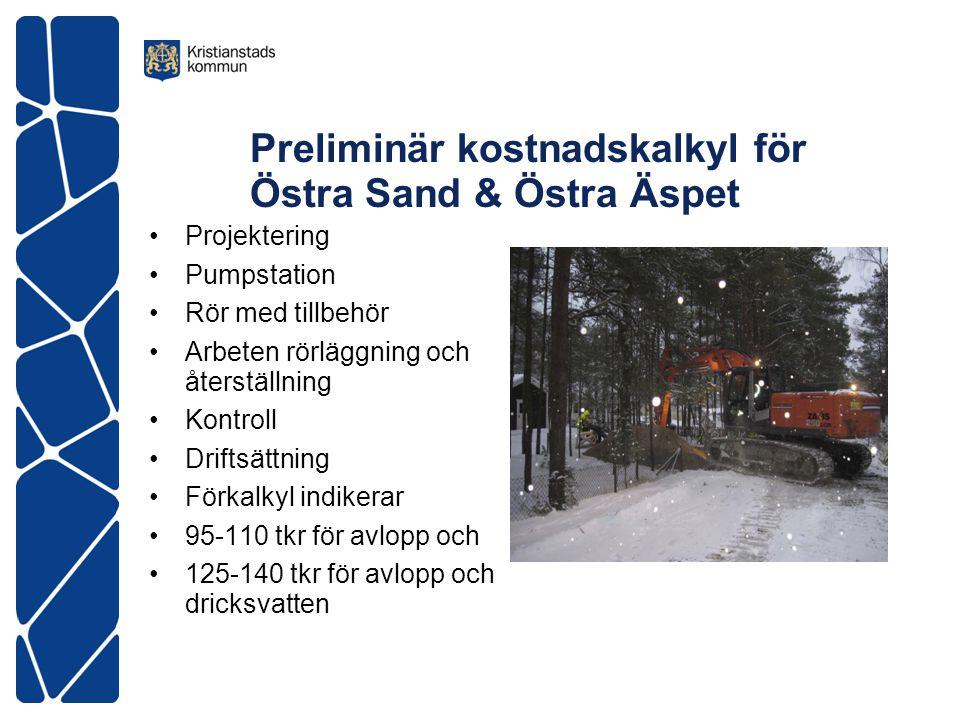 Preliminär kostnadskalkyl för Östra Sand & Östra Äspet