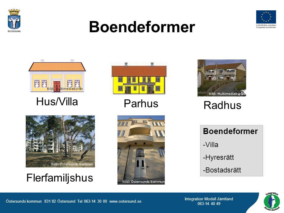 Boendeformer Hus/Villa Parhus Radhus Flerfamiljshus Boendeformer