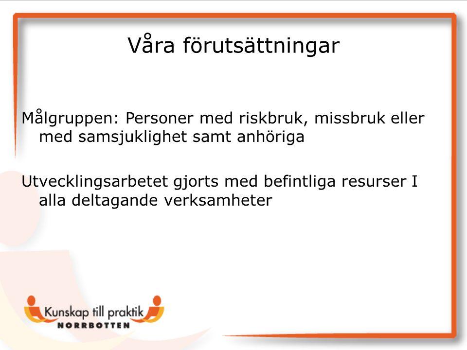Våra förutsättningar Målgruppen: Personer med riskbruk, missbruk eller med samsjuklighet samt anhöriga.