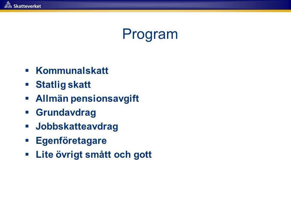 Program Kommunalskatt Statlig skatt Allmän pensionsavgift Grundavdrag