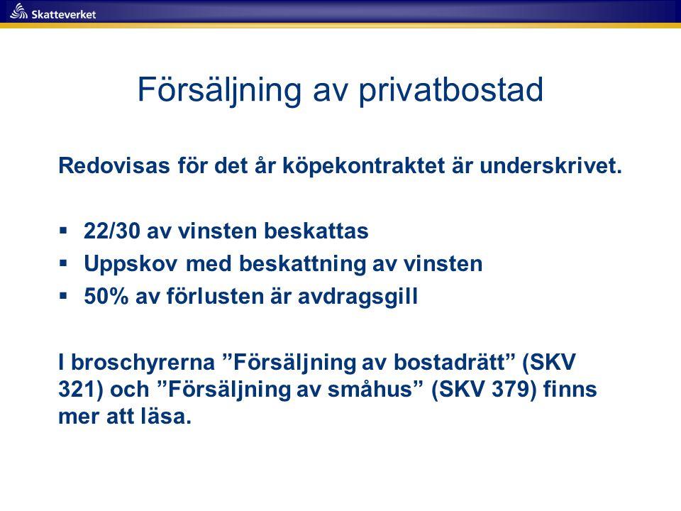 Försäljning av privatbostad