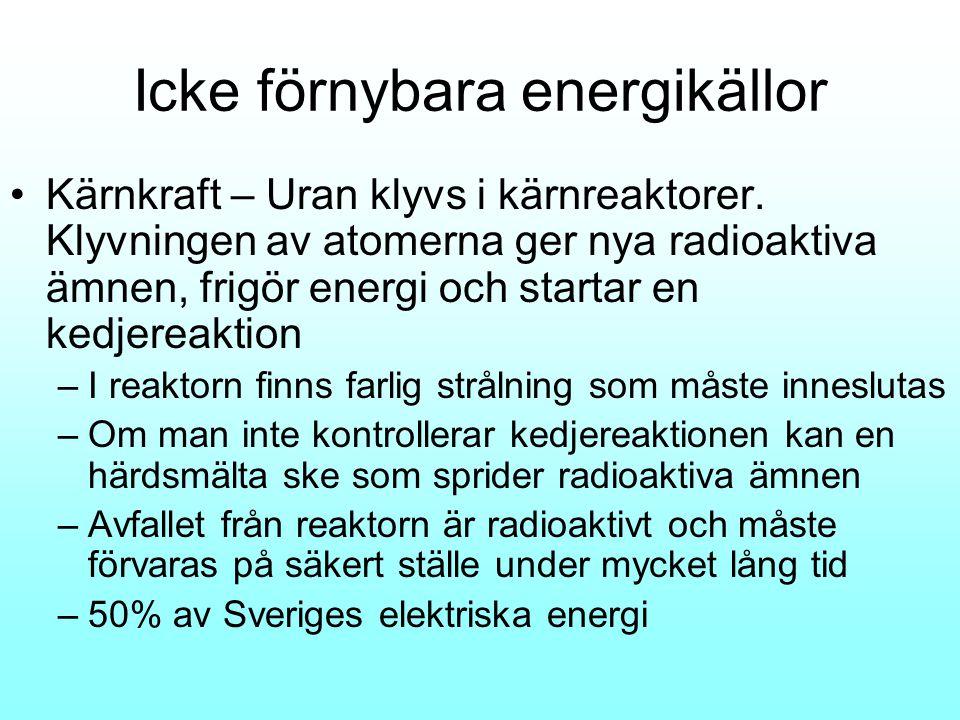 Icke förnybara energikällor