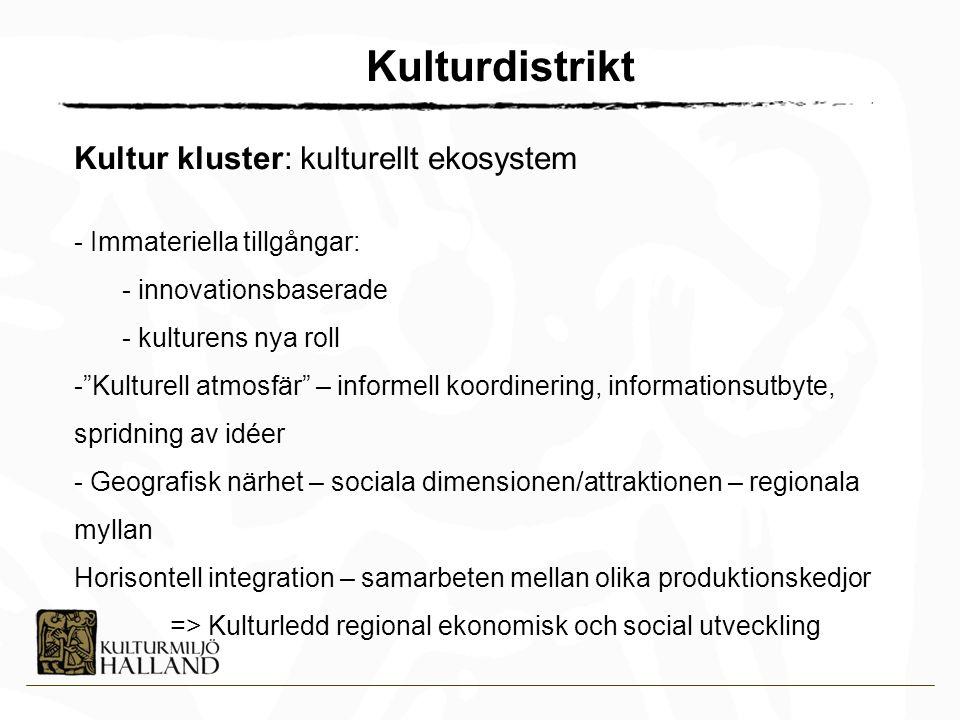 Kulturdistrikt Kultur kluster: kulturellt ekosystem