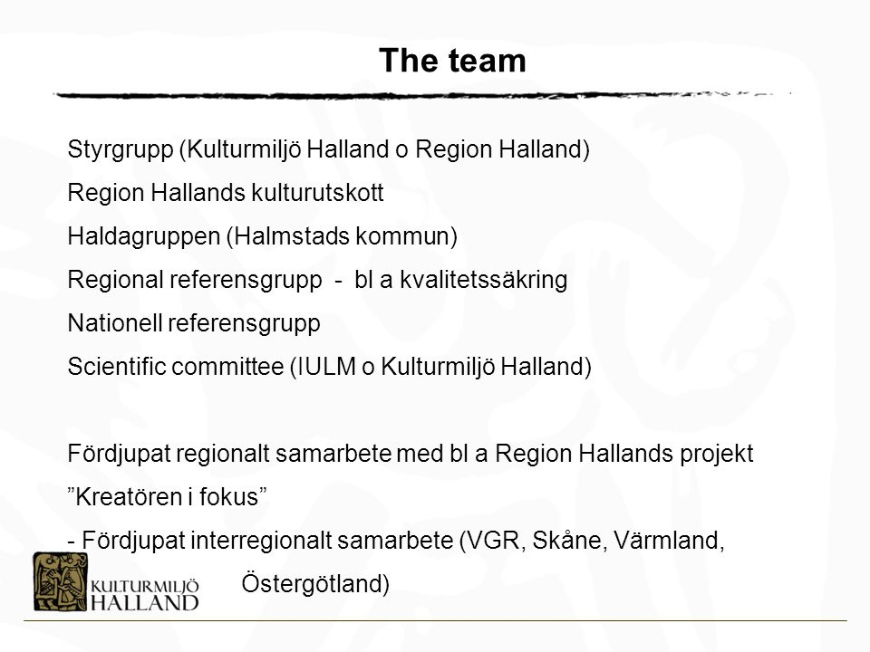 The team Styrgrupp (Kulturmiljö Halland o Region Halland)